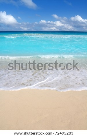 beach tropical vertical Caribbean turquoise perfect sea vacations - stock photo