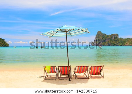 Beach Umbrella and chairs on Koh Phi Phi Island in Thailand