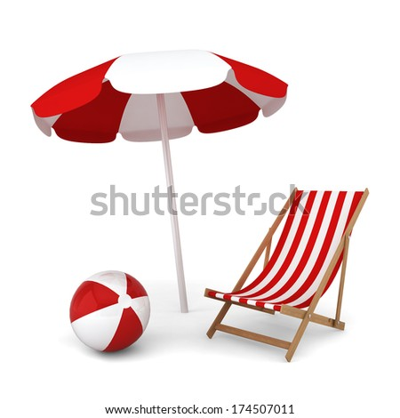 Beach umbrella, chair and ball. Summer vacation concept. 3d illustration on white background  - stock photo