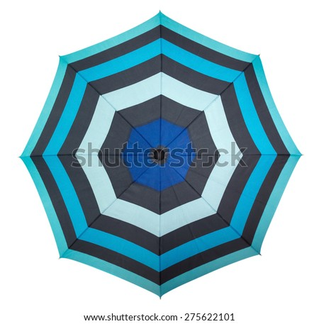 Beach umbrella isolated on white, top view. Clipping path included. - stock photo