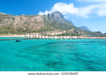 Beach under a Mountain and a Blue Sea View - stock photo