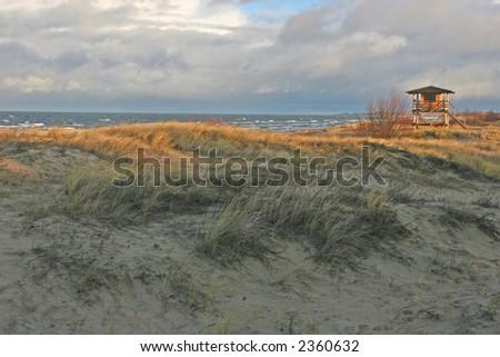 Beach view at the autumn (Bulli, Riga, Latvia) - stock photo