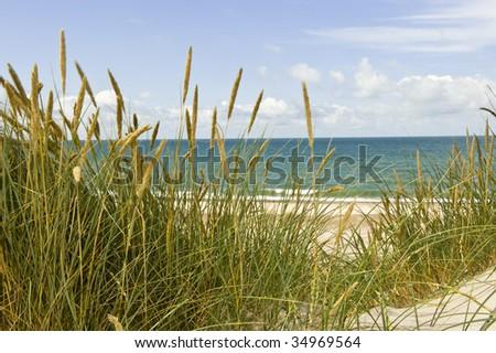 Beach view at the Danish west-coast - stock photo