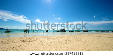 Beach view in Boracay Island in the Philippines. - stock photo