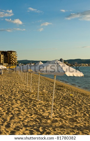 beach view in Sunny Beach - Bulgaria - stock photo