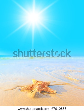 Beach View On a Sunshine Day - stock photo