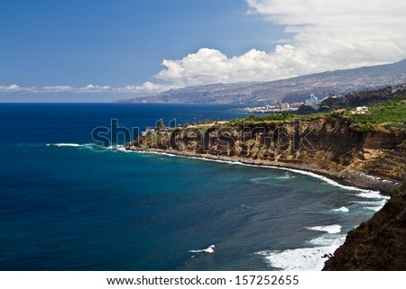 Beach view. Sunset in Tenerife island, Spain. - stock photo