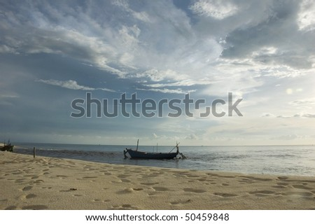 beach view with the boat, Phu Quoc Island, Vietnam - stock photo