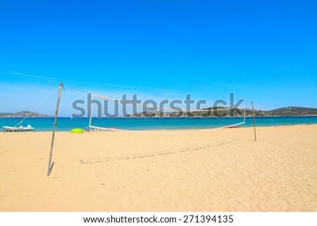 beach volley net in Porto Pollo beach, Sardinia - stock photo