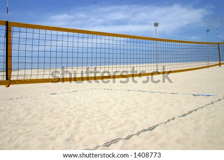 beach volleyball camp - stock photo