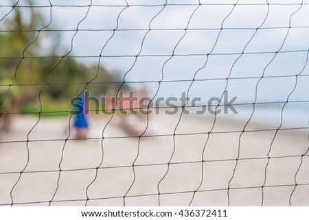 beach volleyball net close-up - stock photo