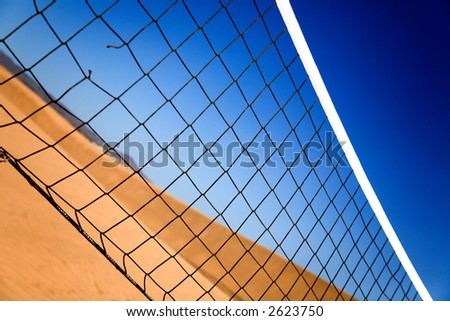 beach volleyball net in a sunny day - stock photo