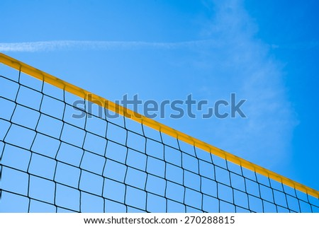 Beach volleyball net in diagonal composition
