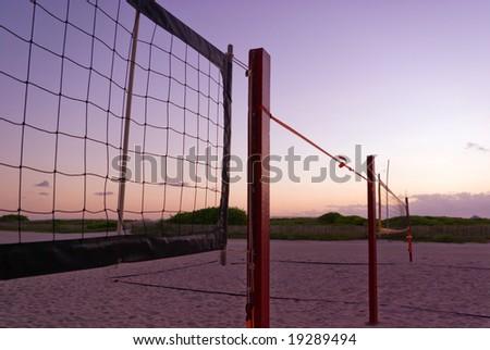 Beach Volleyball Nets at Sunrise - stock photo