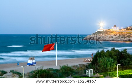 Beach waiting for the Hurricane to Arrive - stock photo