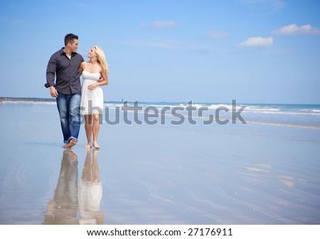 Beach walk - stock photo