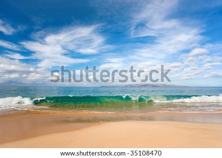 beach wave tropical maui hawaii background - stock photo