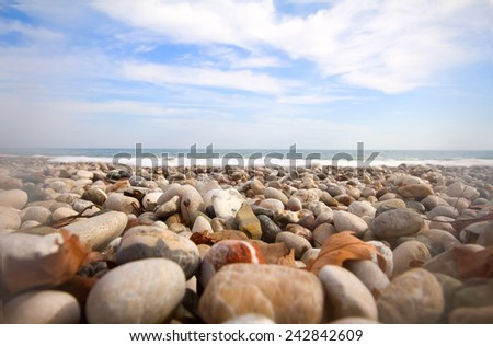 beach waves most beautiful pebble Mediterranean Sea - stock photo