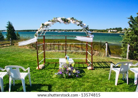 Beach wedding arch - stock photo
