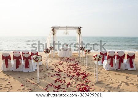 Beach Wedding Setup - stock photo