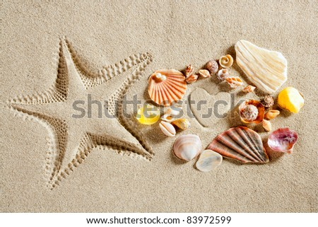 beach white sand heart shape and starfish printed and shells as summer vacation concept - stock photo