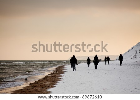 Beach, winter, cold, snow, ice