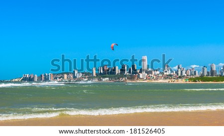 Beach with a view of the city of Natal, Brazil