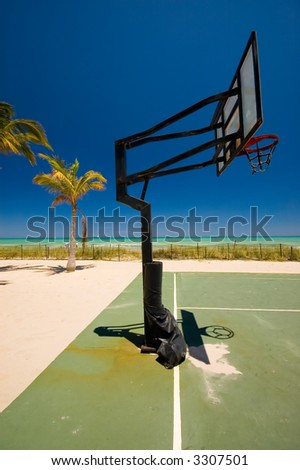 Beach with basketball court