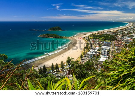 Beach with Blue Sky Landscape, Tauranga City, North Island, New Zealand