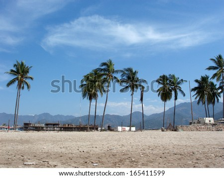 Beach with Coconut Tree, Construction of Buildings and Mountains in the background in Puerto Vallarta, Mexico - stock photo