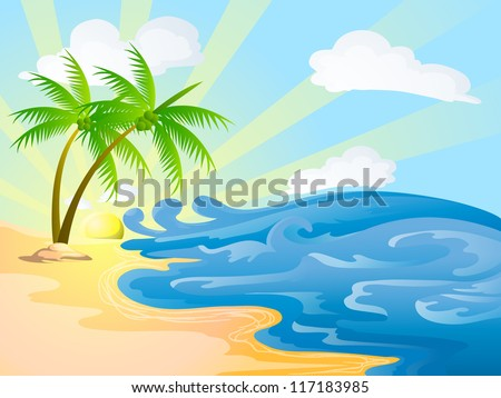 beach with coconut trees on sunny day - stock photo