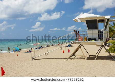 Beach with lifeguard station at Fort Lauderdale, Florida, USA - stock photo