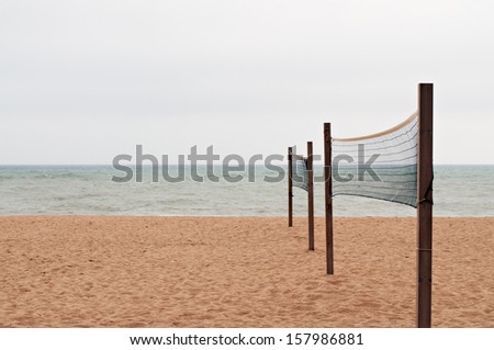 Beach with nets to play Volleyball - stock photo