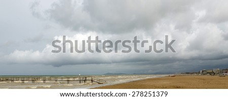 beach with nobody in winter - stock photo