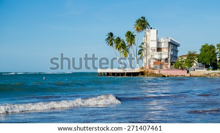 Beach with old building. Puerto Rico San Juan - stock photo