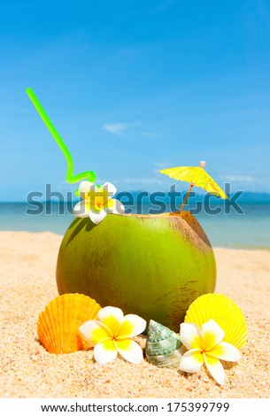 Beach with palm and and exotic coctail - stock photo