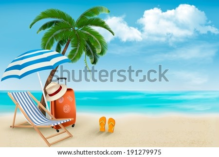 Beach with palm trees and beach chair. Summer vacation concept background.  Raster version - stock photo