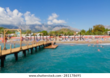 beach with pear abstract blur background - stock photo
