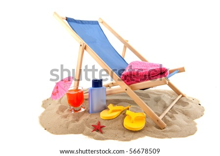 Beach with relax chair drink flip flops for vacation - stock photo