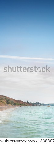 beach with sea waves - stock photo