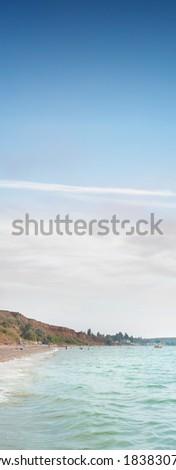 beach with sea waves - stock photo