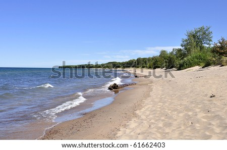 beach with waves and summer sky