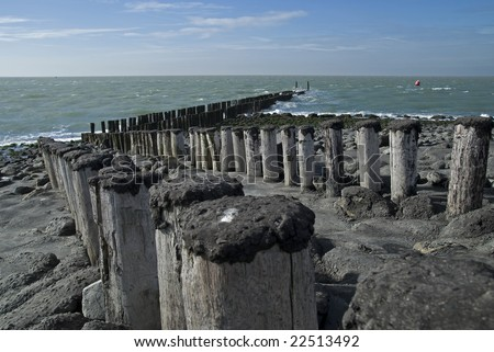 Beach with wooden poles on a beach in Zeeland, Netherlands - stock photo