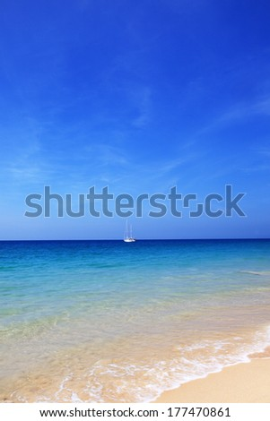 Beach with yacht in andaman sea ,Thailand - stock photo