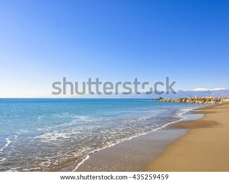 Beach without people in Lara near Antalya in Turkey. Asia Minor