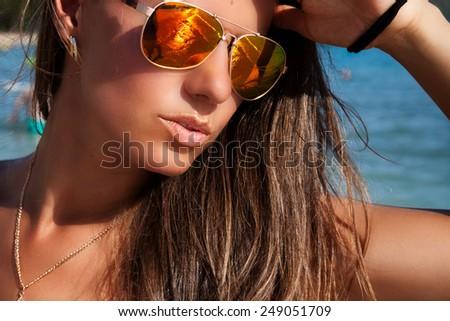 Beach woman enjoying the perfect summer day on Waikiki, Oahu, Hawaii, USA. Sexy girl on travel vacation holidays. - stock photo