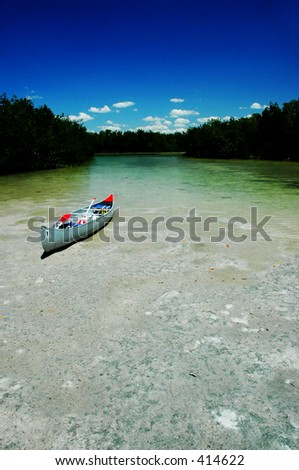 Beached canoe with ample text spacing - stock photo