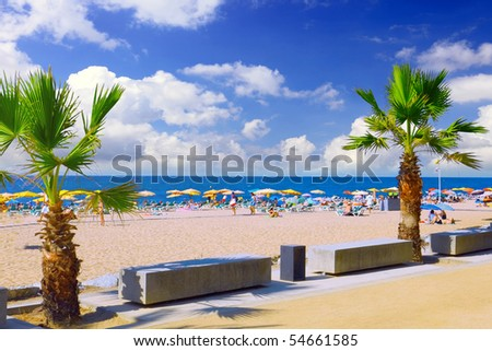 Beaches, coast with clouds in Spain near Barcelona. - stock photo