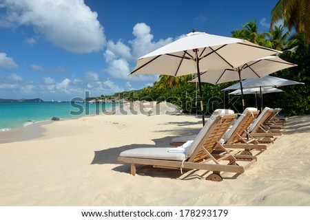 Beaches in the Caribbean.  Concept for rest, relaxation, holidays, spa, resort. - stock photo