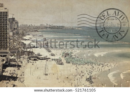 Beaches of Tel-Aviv. Old quay view.Mediterranean, Middle East, Israel. Image done with Print (Stamp). Text inside the print - Tel Aviv in Hebrew and English. Toned retro colors. Old paper textured